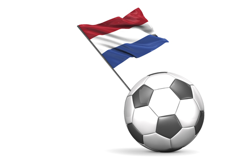 Football with flag of Netherlands, 3d rendering
