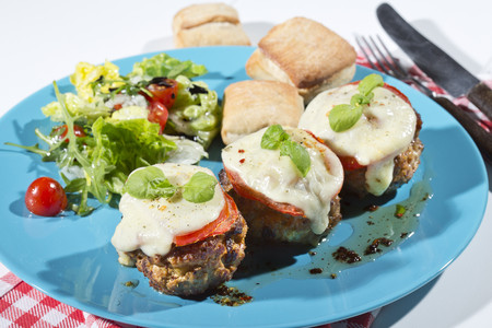Meatballs with tomato and mozzarella on plate LANG_EVOIMAGES