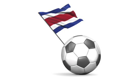 Football with flag of Costa Rica, 3d rendering