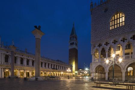 Italy, Venice, St Marks Square at night