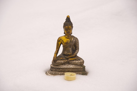 Germany, Bavaria, Allgaeu, Oy Valley, Bhumispara Mudra, Buddha figure in snow