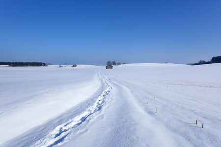 Germany, Bavaria, snow covered landscape with footprints