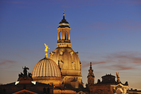 Germany, Saxony, Dresden, view to cupola of lighted Church of Our Lady