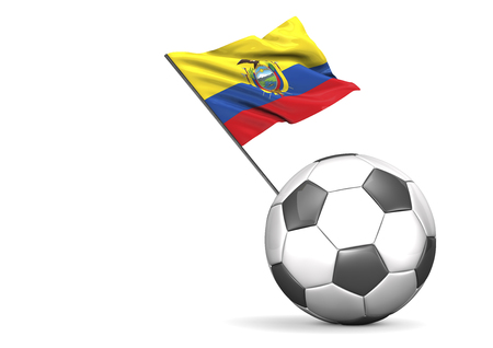 Football with flag of Ecuador, 3d rendering