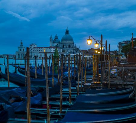 Italy, Venice, Gondolas and church Santa Maria della Salute