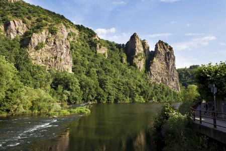 Germany, Rhineland-Palatinate, Bad Munster am Stein-Ebernburg, castle ruin Rheingrafenstein at Nahe river