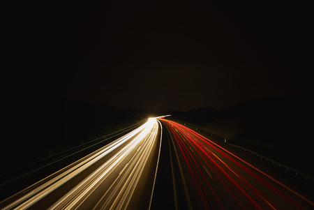 Germany, red and white lighttrails on freeway by night, long exposure LANG_EVOIMAGES