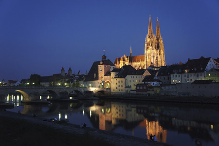 Germany, Bavaria, Regensburg, View of old town with Regensburg Cathedral and Danube River