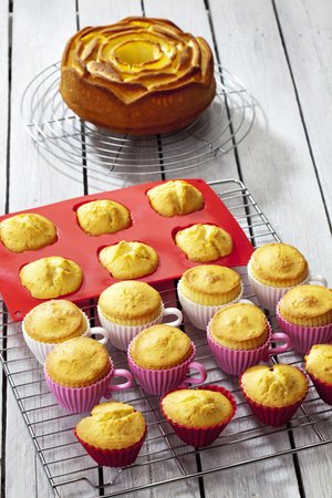Baked cupcakes, muffins and a birthday cake on cooling grids