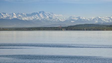 Germany, Bavaria, Lake Ammer, Diessen am Ammersee, Marienmuenster, Alps in the background