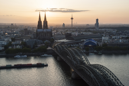 Germany, North Rhine-Westphalia, Cologne, city view with Cologne Cathedral and Colonius at evening twilight LANG_EVOIMAGES