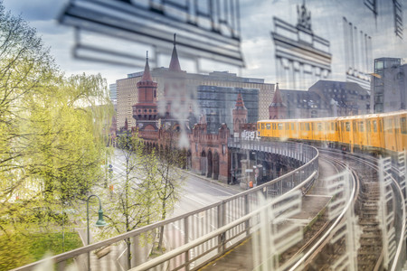Germany, Berlin, view out of a subway train crossing the Oberbaumbruecke