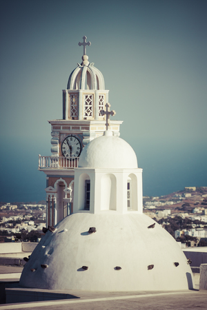 Greece, Cyclades, Santorini, Thera, view to cupola and church spire of Holy church of John the Baptist