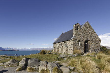 New Zealand, chapel in front of Lake Tekapo LANG_EVOIMAGES
