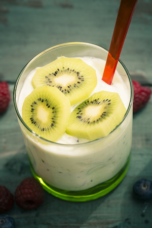 Glass of kiwi curd, elevated view