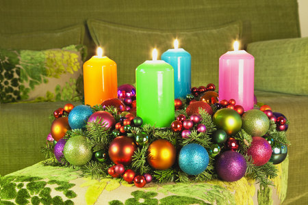 Germany, Cologne, Advent wreath, Couch, Living room