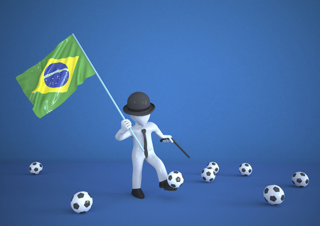 Mannikin playing soccer, holding Brazilian flag