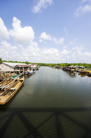 Indonesia, Riau Islands, Bintan Island, Fishing village with fishing boats