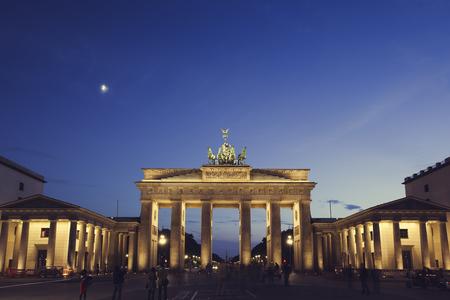 Germany, Berlin, Berlin-Mitte, Brandenburg Gate, Blue hour