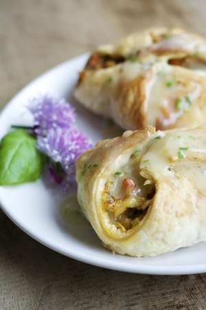Vegetable Wellington with rice and vegetables filling