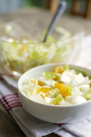 Bowls of Belgian endive salad with mandarin oranges on kitchen towel