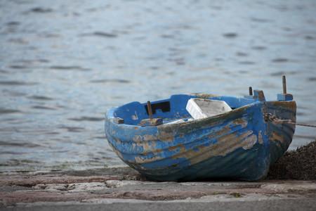 Greece, Ionic Islands, Corfu, old boat in the port of Garitsa