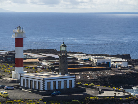 Spain, Canary Islands, La Palma, Southern Coast, Los Quemados, New and old lighthouse at Faro de Fuencaliente