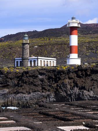 Spain, Canary Islands, La Palma, Southern Coast, Los Quemados, New and old lighthouse at Faro de Fuencaliente, Saline Teneguia