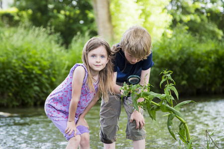 Brother and sister standing in front of brook watching plant with magnifying glass