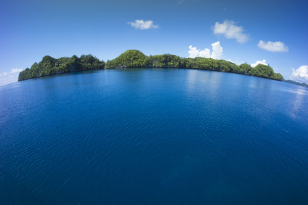 Micronesia, Palau, fisheye view of tropical island