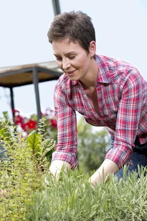 Portrait of female gardener working in garden centre