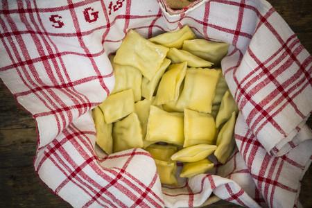 Swabian dumplings for soup on kitchen towel LANG_EVOIMAGES