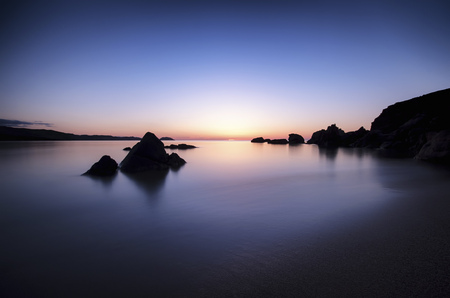 Spain, Menorca, Sunset at Playa de Cavalleria