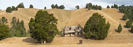 New Zealand, South Island, Wakefield, ruinous old wooden farmhouse