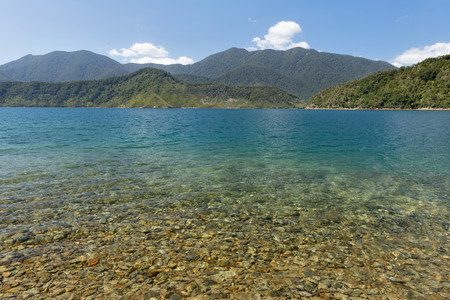 New Zealand, South Island, Marlborough Sounds, Tennyson Inlet, view over the sounds of Penzance Bay