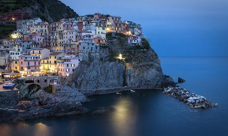 Italy, Cinque Terre, Manarola in the evening