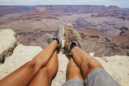 USA, Arizona, couple enjoying the view at Grand Canyon, partial view LANG_EVOIMAGES