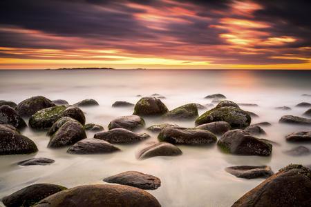 Scandinavia, Norway, Lofoten, Vestvagoy, Sundown At The Coastline Of Utakleiv