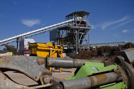 Germany, Baden-Wurttemberg, Incinerator Trea Breisgau, View Of Industrial Site With Conveyor Belt LANG_EVOIMAGES