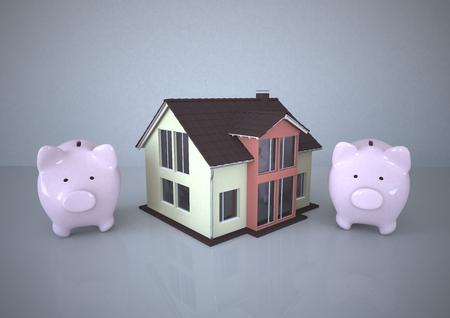 Illustration, House And Piggy Banks LANG_EVOIMAGES