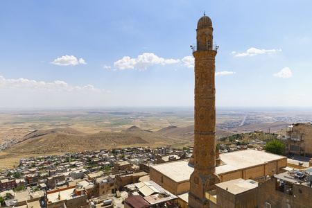 Turkey, Mardin, Mesopotamian Plain And Minaret Of The Great Mosque