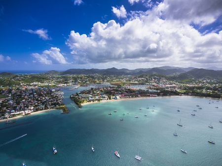 Caribbean, St. Lucia, Rodney Bay, Cap Estate, Aerial Photo Of Reduit Beach LANG_EVOIMAGES