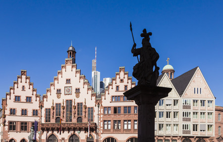 Germany, Hesse, Frankfurt, View To Historical City Hall With Statue In The Foreground