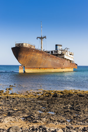 Spain, Canary Islands, Lanzarote, Arrecife, Punta Chica, Ship Wreck Telamon LANG_EVOIMAGES