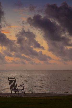 Usa, Texias, Rocking Chair At Beach, Early Morning At The Gulf Coast
