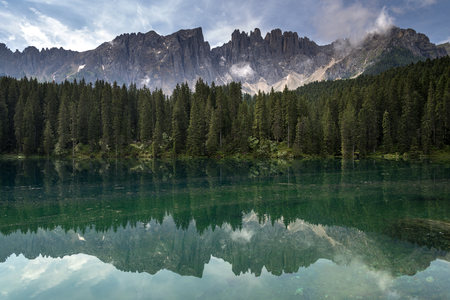 Italy, South Tyrol, Lake Karersee And Latemar Group LANG_EVOIMAGES