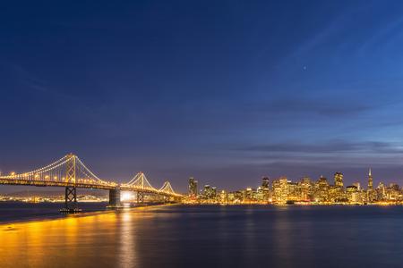 Usa, California, San Francisco, Skyline And Oakland Bay Bridge In The Evening