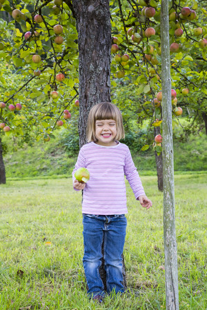 Portrait Of Little Girl Leaning On An Apple Tree