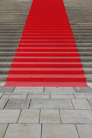 Germany, Berlin, Red Carpet At Stone Staircase