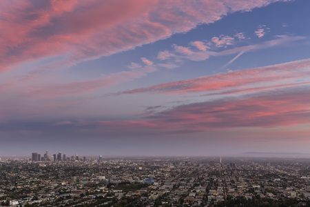 Usa, California, Los Angeles, Cityscape At Sunset LANG_EVOIMAGES